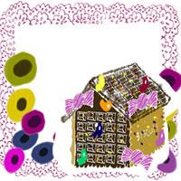 フリー素材:バナー・アイコン:200pix;北欧風の花とお菓子の家とのピンクのレースの飾り枠のwebデザイン素材