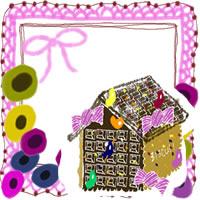 フリー素材:アイコン;北欧風の花とピンクのリボンとレースとお菓子の家のwebデザイン素材