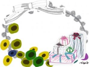 フリー素材:フレーム:640×480pix;北欧風の花とプレゼントボックスとモノトーンのストライプのリボン