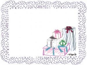 フリー素材:フレーム;ガーリーな紫のレースの囲み枠とプレゼントボックス:640×480pix