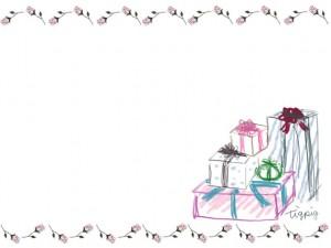 フリー素材:フレーム;大人かわいい薔薇のラインとプレゼントボックス:640×480pix