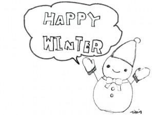 フリー素材:フレーム;モノトーンの大人かわいい雪だるまとHAPPYWINTERの手書き文字と吹出し;640×480pix