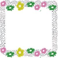 フリー素材:北欧風の小花とモノトーンのレースの飾り枠;アイコン(twitter,mixi,ブログ)200×200pix