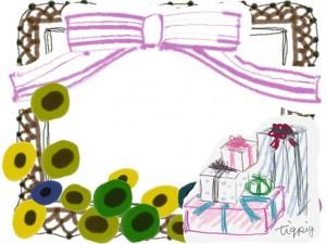 フリー素材:北欧風の花とピンクのリボンと茶色のレースとプレゼントボックスの飾り枠;フレーム;640×480pix