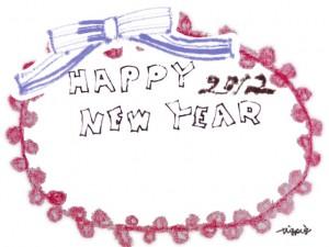 フリー素材:北欧風のピンクのポンポンレースとブルーのリボンとHappyNewYearの手書き文字の囲み枠;フレーム640×480pix