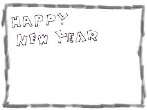 フリー素材:ポップな手書き文字HappyNewYearと鉛筆風の囲み枠;フレーム640×480pix