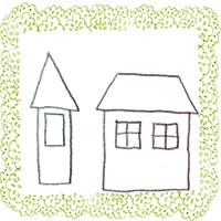 フリー素材:北欧風のモノトーンの二つのお家と若葉色のレースの飾り枠;アイコン(twitter,mixi,ブログ)200×200pix