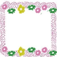 フリー素材:アイコン(twitter);北欧風のレトロな小花とパステルピンクのレースの飾り枠のwebデザイン素材