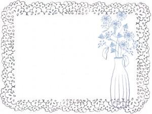フリー素材:フレーム:北欧デザインのシンプルな花と花瓶とレース;640×480PIX