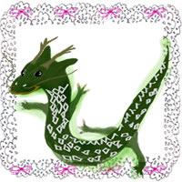 フリー素材:辰のかわいいイラストとピンクのりぼんとモノクロのレース;アイコン(twitter)