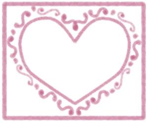 バナー広告、webデザインのフリー素材:大人可愛いピンクのハートのフレーム(飾り枠);300×250pix