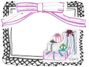 フリー素材:フレーム;大人かわいいプレゼントボックスと黒のレースとピンクのりぼん:640×480pix