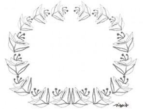 フリー素材:フレーム;モノトーンの北欧風の花と葉の飾り枠:640×480pix