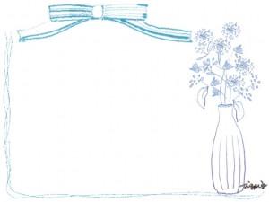 フリー素材:フレーム;北欧風の花と花瓶とパステルブルーのリボンとラインの囲み枠:640×480pix