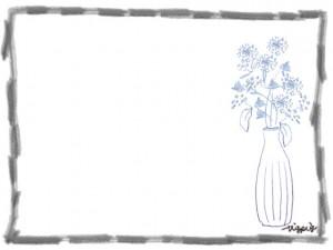 フリー素材:フレーム;北欧風の花と花瓶とモノトーンの鉛筆のラインの囲み枠:640×480pix