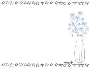フリー素材:フレーム;手描きのモノトーンの星と北欧風の花と花瓶:640×480pix