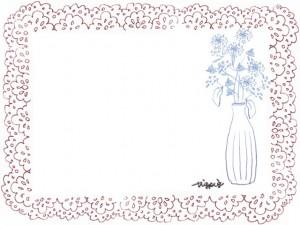 フリー素材:フレーム;北欧風の花と花瓶と大人かわいいレースの囲み枠:640×480pix