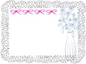 フリー素材:フレーム;北欧風の花と花瓶とかわいいピンクのリボンとモノクロのレースの囲み枠:640×480pix