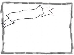 フリー素材:web制作のフレーム:モノトーンのレトロなりぼんと鉛筆画きの囲み枠;640×480PIX