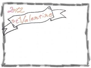 フリー素材:バレンタイン(st.Valentine)の手書き文字とモノトーンのリボンと鉛筆画のフレーム;640×480PIX