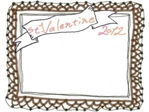 フリー素材:フレーム:バレンタイン(st.Valentine)の手書き文字とリボンとチョコレート色のレースの囲み枠;640×480PIX