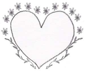 フリー素材:バレンタインのフレーム:モノトーンのハート。ガーリーな小花と葉っぱの飾りつきの飾り枠;320×250PIX