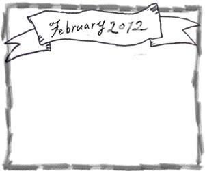 フリー素材:バレンタインのフレーム:モノトーンのFebrary(2月)の手書き文字とリボンと鉛筆画きのラインの飾り枠;320×250PIX