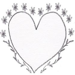 フリー素材:バレンタインのフレーム:北欧デザインのモノトーンの小花と葉っぱとハート飾り枠;320×250PIX