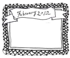 フリー素材:フレーム:モノクロのガーリーなレースとFebruary2012の手書き文字のリボンの飾り枠;320×250PIX