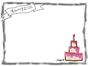 フリー素材:フレーム:モノトーンのFebrary(2月)2012の手書き文字とリボンとピンクのケーキと鉛筆画の囲み枠;640×480PIX