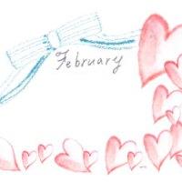 フリー素材:フレーム:水彩のハートとFebruary(2月)の手書き文字とリボンの飾り枠;320×250PIX