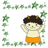 フリー素材:緑色の水彩の星と節分のかわいい鬼の無料イラスト;アイコン(twitter);200×200pix