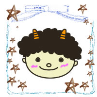 フリー素材:2月のアイコン(twitter);水彩の茶色の星とブルーのリボンの囲み枠と節分のかわいい鬼のイラスト;200×200pix