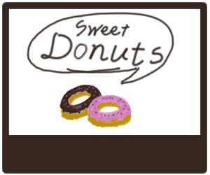 フリー素材:バナー広告:苺チョコドーナツとフキダシとDounutsの手書き文字とブラウンブラックの飾り枠;320×250pix