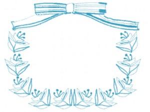フリー素材:フレーム:北欧風の花と葉っぱとストライプのリボンのパステルブルーの飾り枠;640×480pix