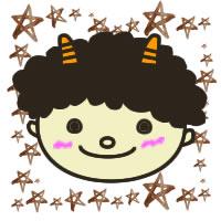 フリー素材:アイコン(twitter);かわいい鬼のイラストと水彩の星の無料イラスト枠;200×200pix