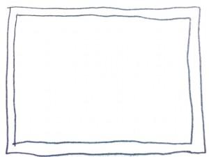 フリー素材:フレーム;モノトーンの鉛筆の手描きのラフな2本のラインの囲み枠:640×480pix