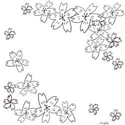 フリー素材:バナー,アイコン:モノトーンのシンプルでガーリーな桜の花いっぱいの鉛筆画の飾り枠;250×250pix