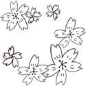春のフリー素材:モノトーンの手描きの桜いっぱいのフレーム;スクエアボタン125×125pix