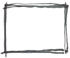 フリー素材:フレーム;モノトーンの手描きの水彩のラフな飾り枠;バナー広告300×250pix