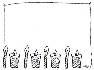 フリー素材:フレーム;モノトーンのキャンドルとラフなラインの飾り枠;640×480pix