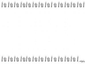 フリー素材:モノクロのキャンドルが並んだレトロで大人可愛い飾り罫;フレーム;640×480pix