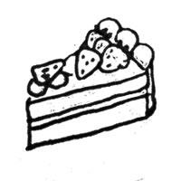 フリー素材:アイコン;モノクロのレトロな太い線画のイチゴショートケーキ;200×200pix