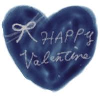 フリー素材:アイコン(twitter);大人可愛い紺色のハートとHAPPYValentineの手書き文字とりぼん;200pix