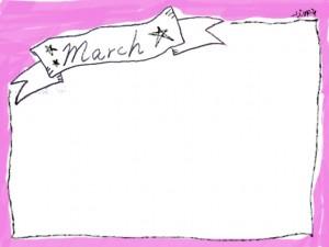 フリー素材:3月のフレーム;塗りムラがかわいいピンクの囲み枠とモノトーンのリボンの手書き文字March;640×480pix