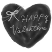 フリー素材:壁紙,アイコン(twitter);大人可愛いモノトーンのハートとリボンとバレンタインの手書き文字;200pix
