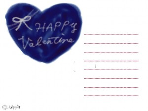 フリー素材:無料イラスト;大人可愛いネイビーブルーの水性ペンので描いたようなハートとリボンとバレンタインの手書き文字;640×480pix