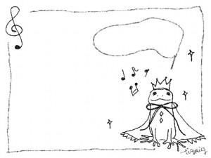 春のフリー素材:フレーム;モノトーンが大人可愛いカエルの王子と音符と吹出し;640×480pix