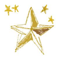 フリー素材:アイコン(twitter);黄色の星の手描きラインが大人可愛いイラスト;200pix