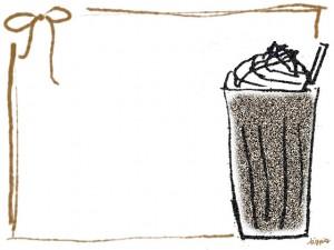 フリー素材:フレーム;大人可愛いざらざらした質感がレトロなカフェモカのイラスト;640×480pix